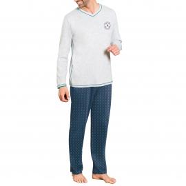 Pyjama long Dodo : Tee-shirt col V gris chiné et pantalon bleu marine à imprimés cannes de golf