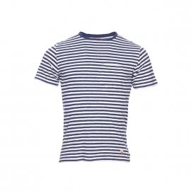 Tee-shirt col rond Armor Lux en coton et lin écru à rayures bleues