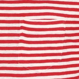 Tee-shirt col rond Armor Lux en coton et lin écru à rayures rouges