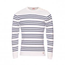 Pull col rond boutonné Armor Lux en coton blanc à rayures bleu marine