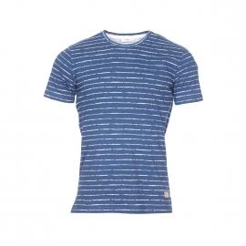 Tee-shirt col rond Minimum en coton bleu indigo à rayures blanches