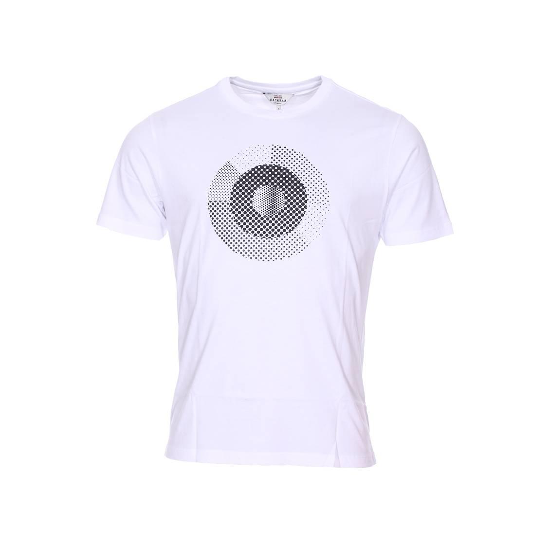 Tee-shirt col rond  en coton blanc à motifs pointillés noirs