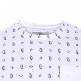 Tee-shirt col rond Ben Sherman en coton blanc à imprimé cachemire et petits pois bleu indigo