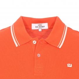 Polo Ben Sherman en piqué de coton orange, col à bandes blanches