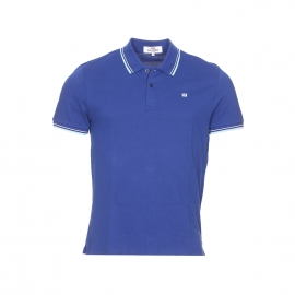 Polo Ben Sherman en piqué de coton bleu royal, col à bandes blanches et bleu ciel