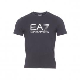 Tee-shirt col rond EA7 en coton stretch noir imprimé en blanc