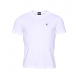 Tee-shirt col V EA7 en coton stretch blanc