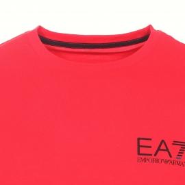 Tee-shirt col rond EA7 en coton rouge floqué du logo en noir