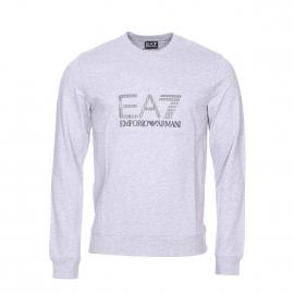 Sweat col rond EA7 en coton gris floqué du logo