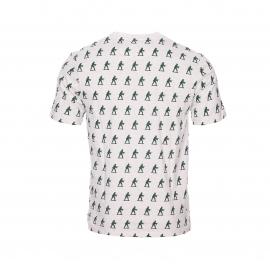 Tee-shirt col rond Hymn en coton écru chiné à motifs soldats
