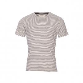 Tee-shirt col rond Hymn en coton crème à rayures bleu marine