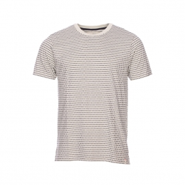 Tee-shirt col rond Hymn en coton écru à motifs bleu marine