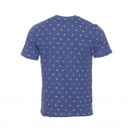 Tee-shirt col rond Hymn en coton bleu indigo flammé à motifs blancs