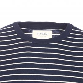 Tee-shirt manches longues col rond Hymn en coton bleu marine à rayures écrues