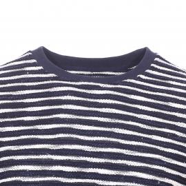 Sweat col rond Hymn en coton mélangé bleu marine à rayures écrues, mailles tricotées