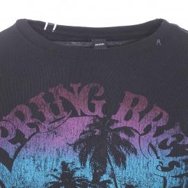 Tee-shirt Replay en coton noir imprimé palmiers multicolores
