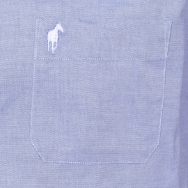 Chemise droite manches courtes Claude Gentleman Farmer en coton bleu clair, tissage fil à fil