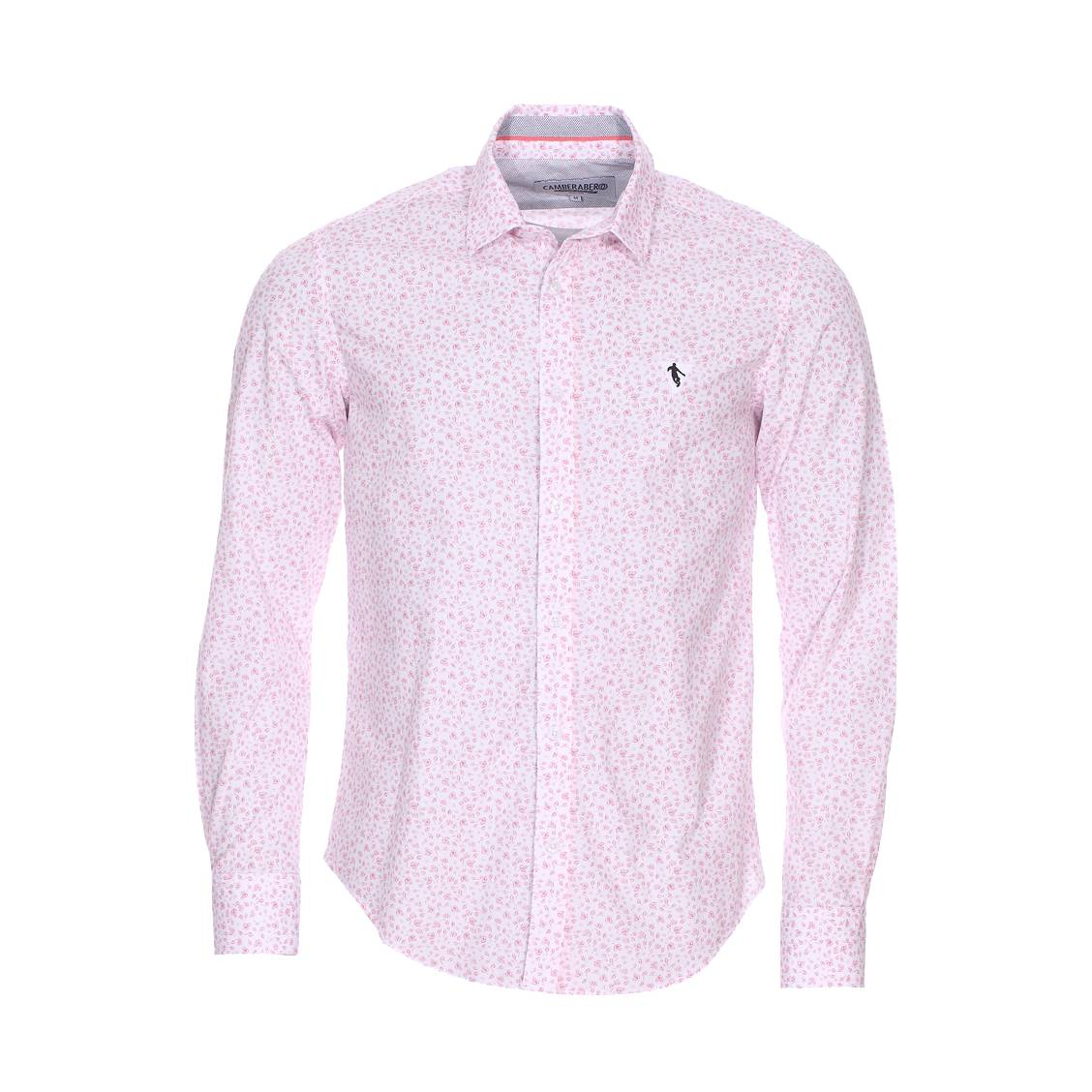 Chemise droite Camberabero en coton blanc à fleurs rouge pâle