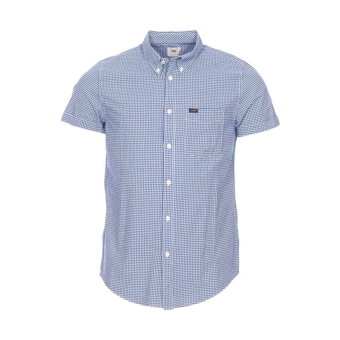 Chemise droite manches courtes  en coton à carreaux vichy bleu indigo et blancs
