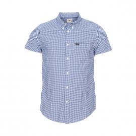 Chemise droite manches courtes Lee en coton à carreaux vichy bleu indigo et blancs