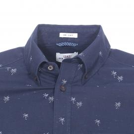 Chemise cintrée manches courtes Ben Sherman en coton bleu marine moucheté à petits palmiers