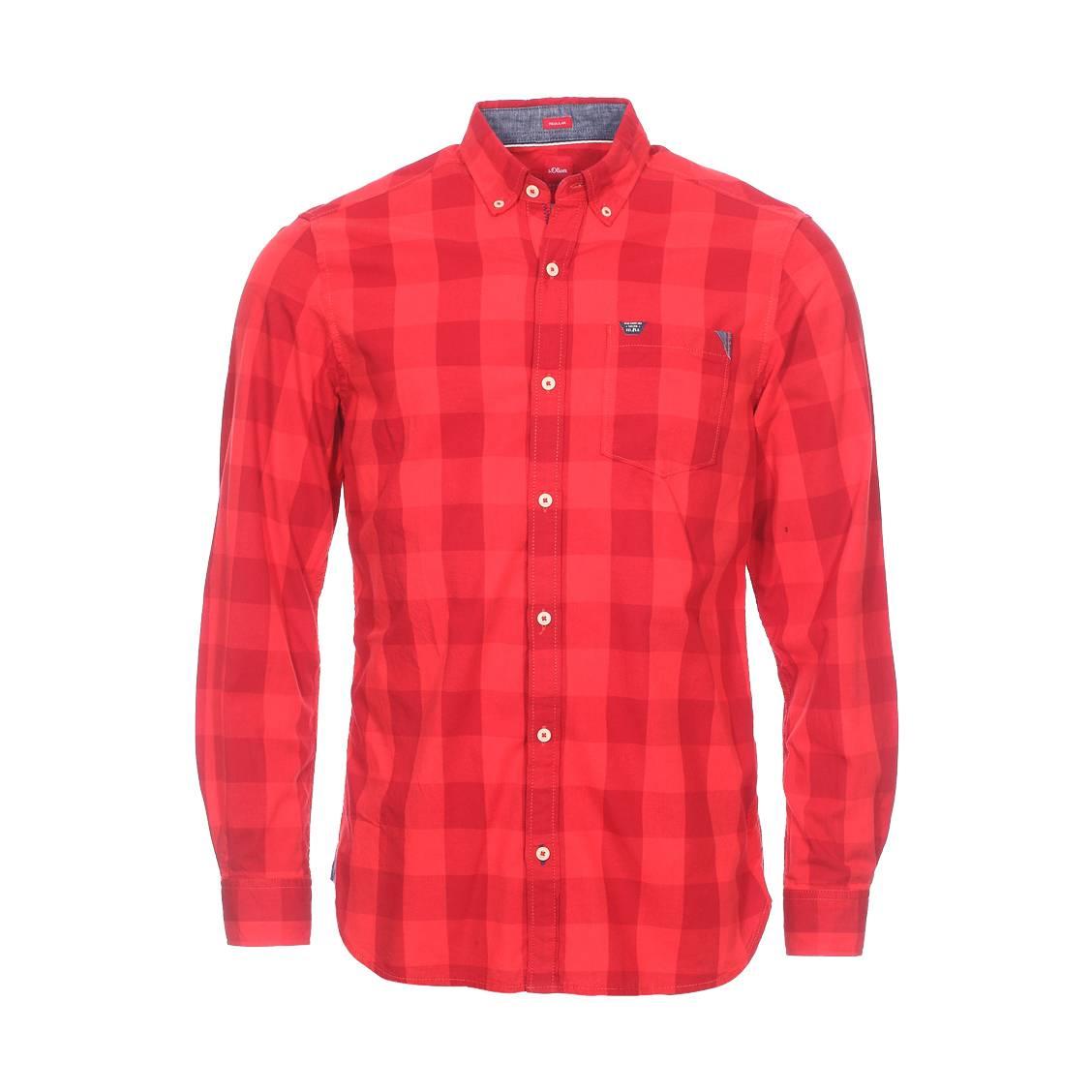 Chemise droite  en coton à carreaux rouges