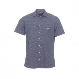 Chemise droite manches courtes Jean Chatel en coton bleu marine à petites fleurs blanches