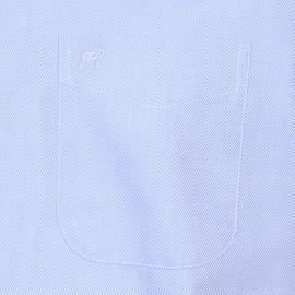 Chemise droite Jean Chatel en coton bleu ciel à fines rayures blanches