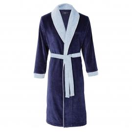 Peignoir d 39 int rieur hugo boss lord en velours bleu marine for Peignoir interieur homme