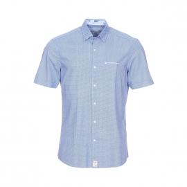 Chemise manches courtes Pierre Cardin en coton bleu ciel à imprimés géométriques