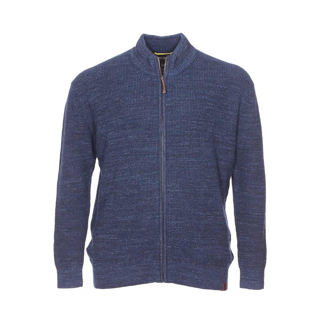 Cardigan zippé  en coton bleu foncé chiné