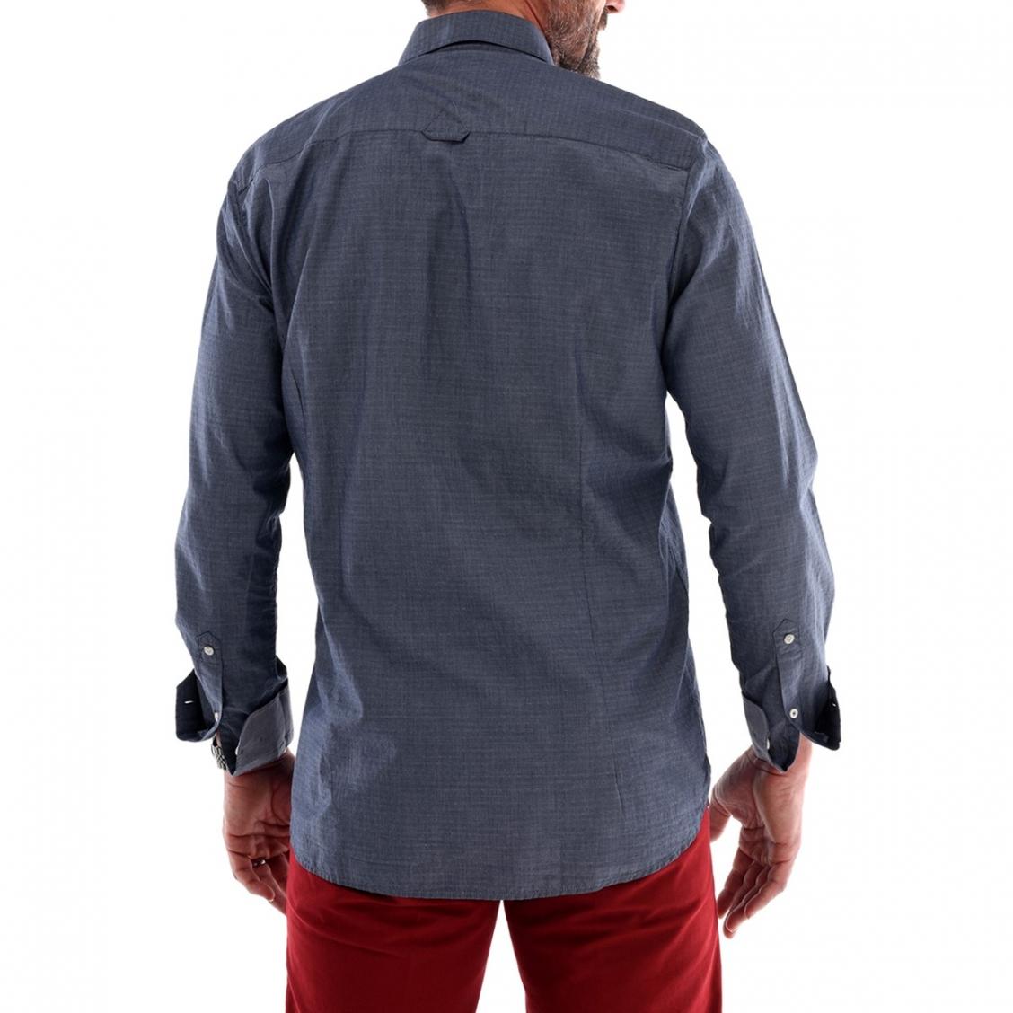 chemise homme effet jean motif jacquard rue des hommes. Black Bedroom Furniture Sets. Home Design Ideas