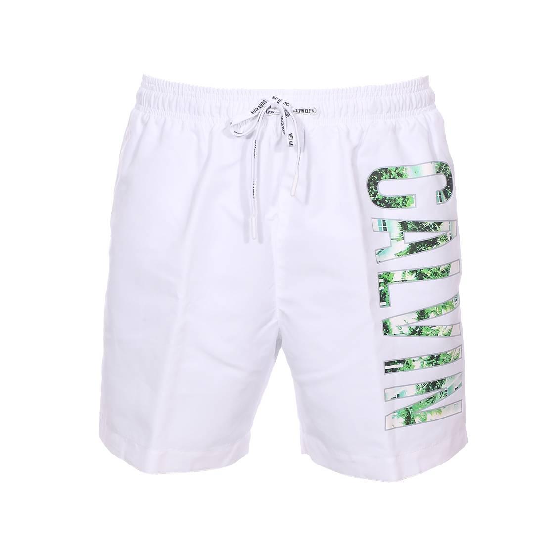 Short de bain Calvin Klein blanc, floquage à motifs