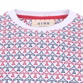 Tee-shirt col rond Hymn en coton blanc à imprimés avions rouges et bleus