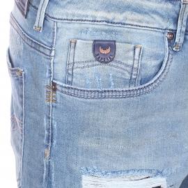 Short Kaporal en jean bleu clair effet destroy