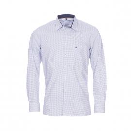 Chemise droite Jean Chatel en coton blanc à petits carrés bleu marine