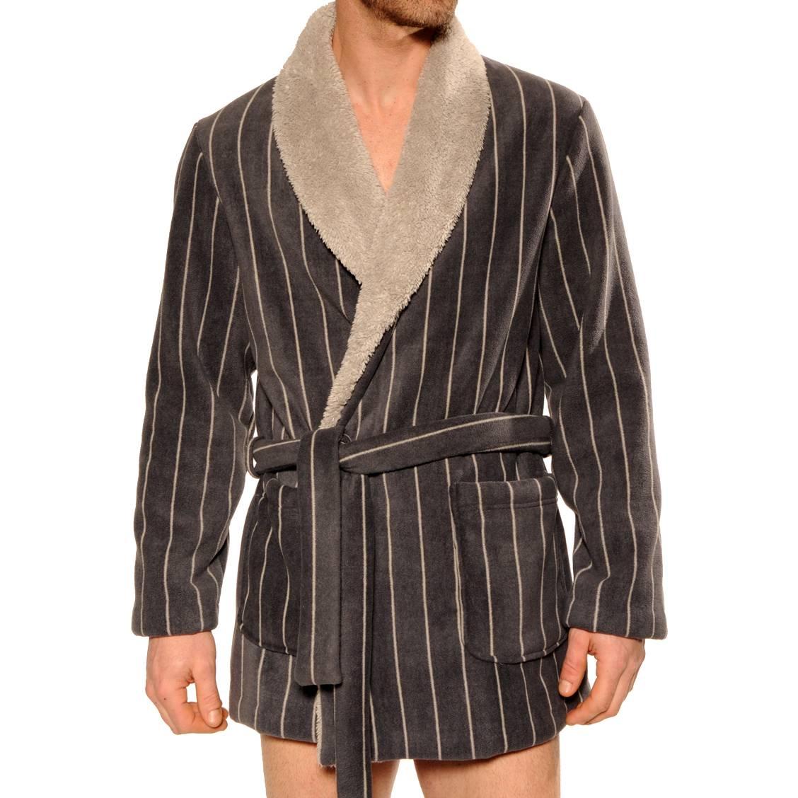 Veste d'intérieur col châle Bucarest Christian Cane en velours gris foncé à rayures