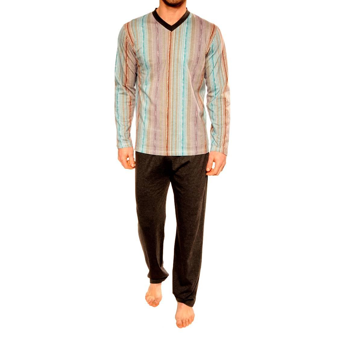 Pyjama long Boris Christian Cane en coton mélangé : tee-shirt manches longues col V à rayures et pantalon gris anthracite + 1 boxer offert