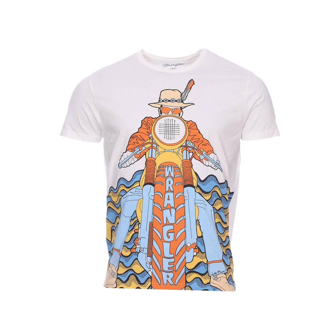 Tee-shirt col rond  luke tee en coton blanc à imprimé inspiration biker