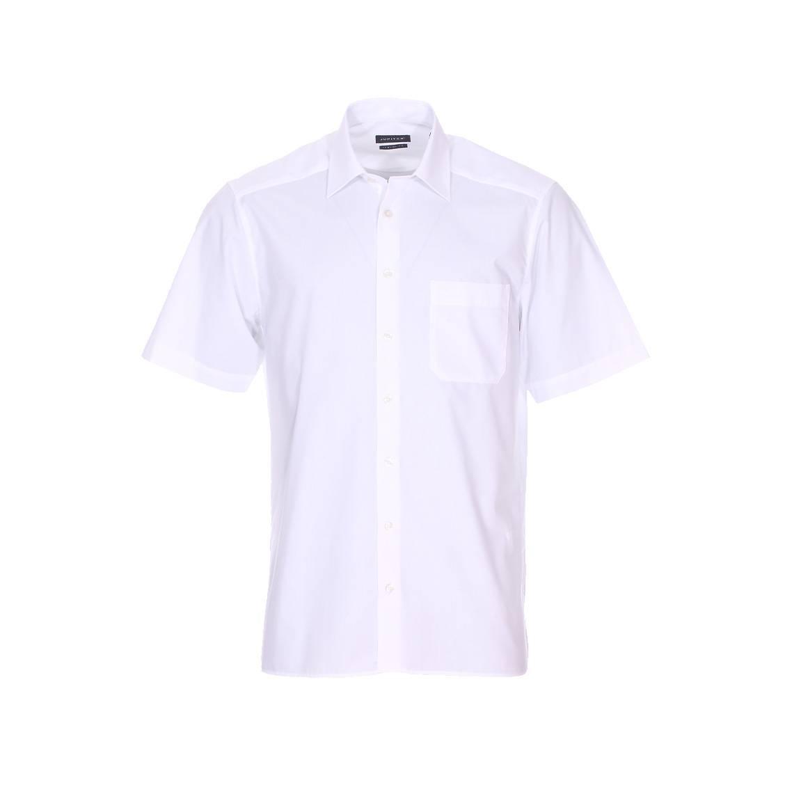 Chemise droite manches courtes  en coton mélangé blanc