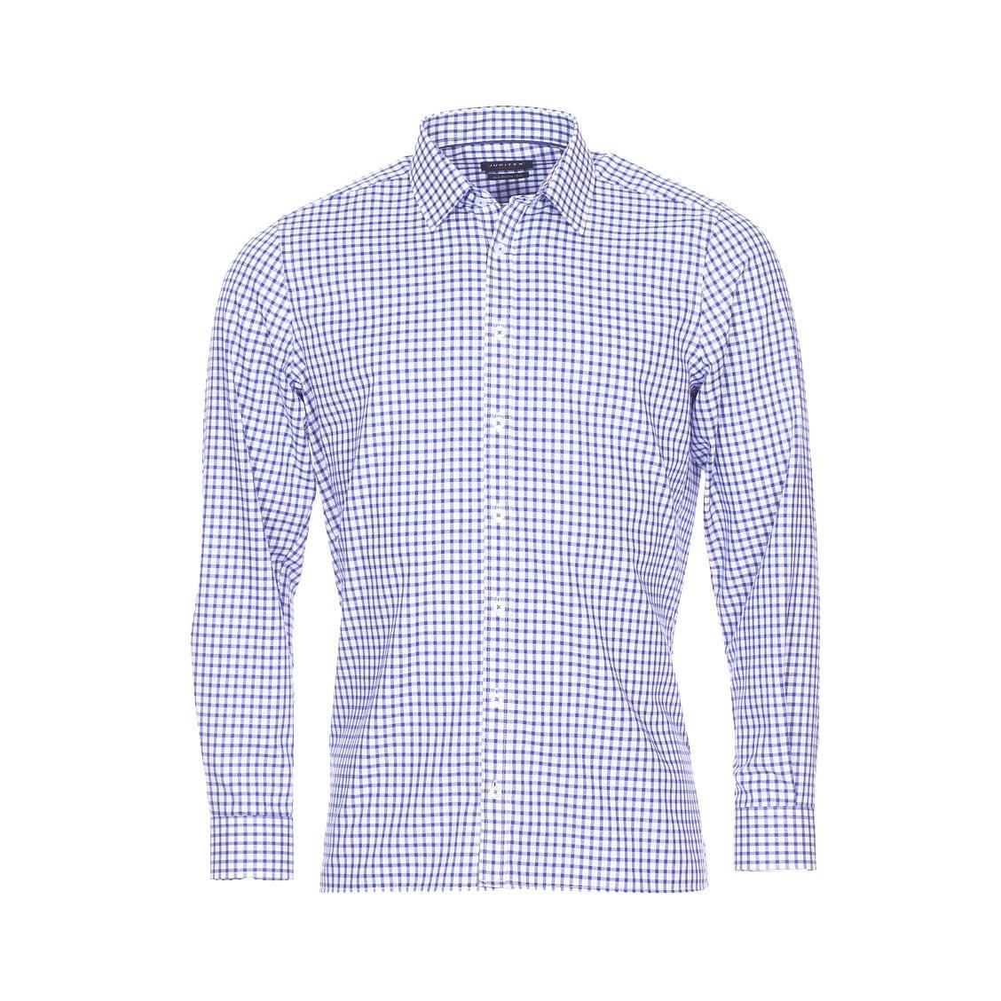 Chemise droite  en coton à carreaux bleu marine et blancs