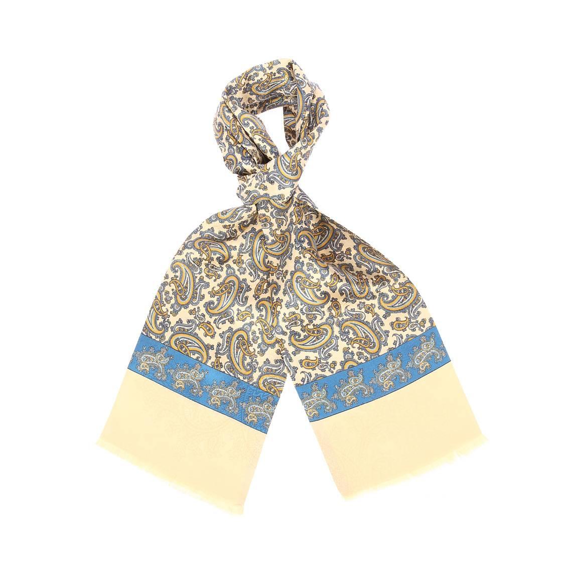 Echarpe en soie  dorée à motifs cachemires bleus et jaunes