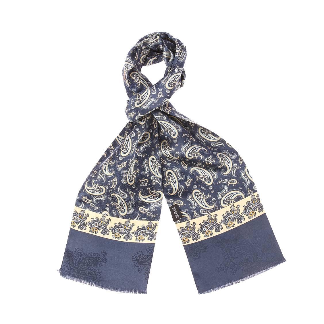 Echarpe en soie  bleu marine à motifs cachemires bleu marine et dorés