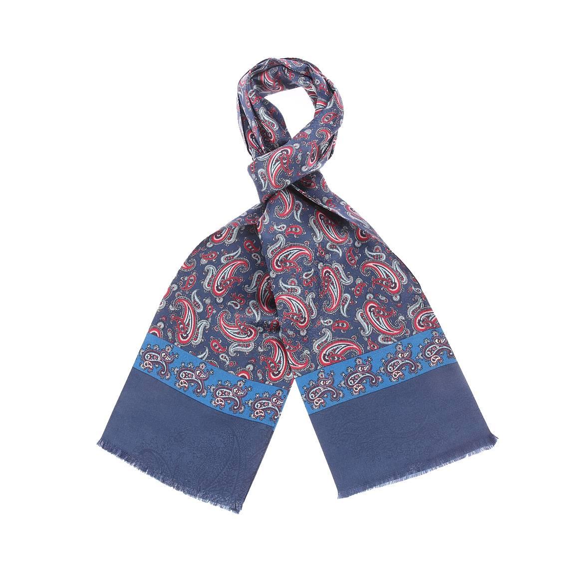 Echarpe en soie  bleu marine à motifs cachemires bleu marine et rouges