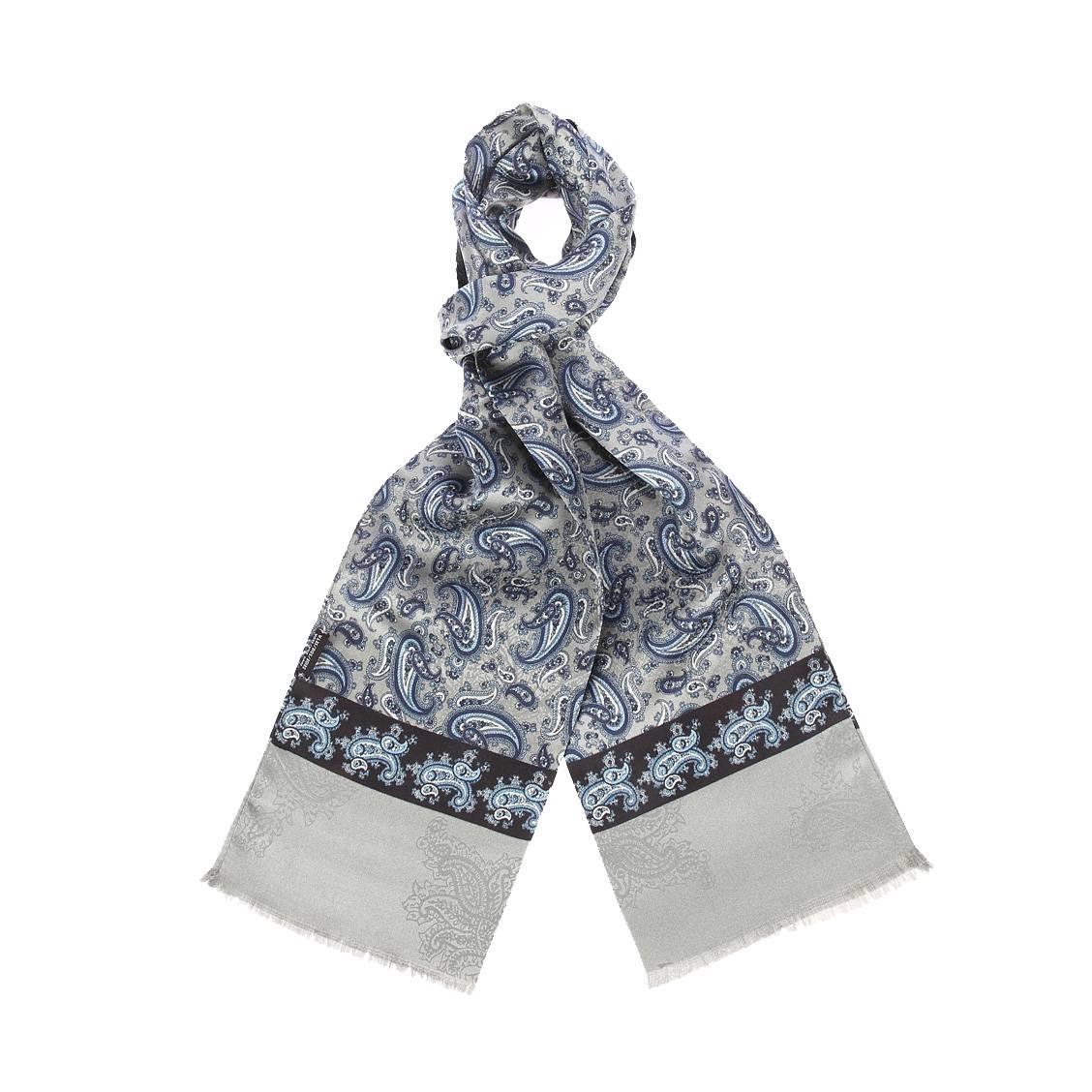 Echarpe en soie  grise à motifs cachemires bleus