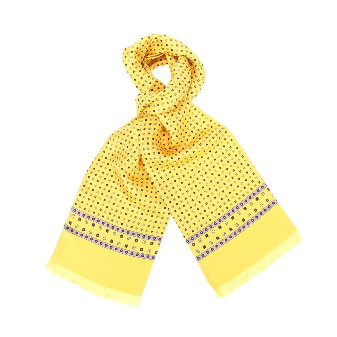 Echarpe en soie  jaune à motifs fleuris bleus