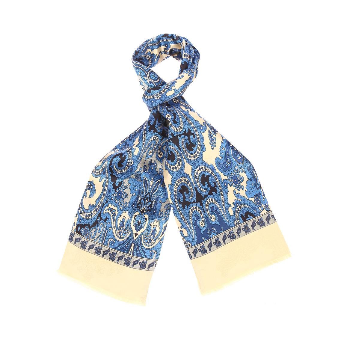 Echarpe en soie  dorée à motifs cachemires bleus