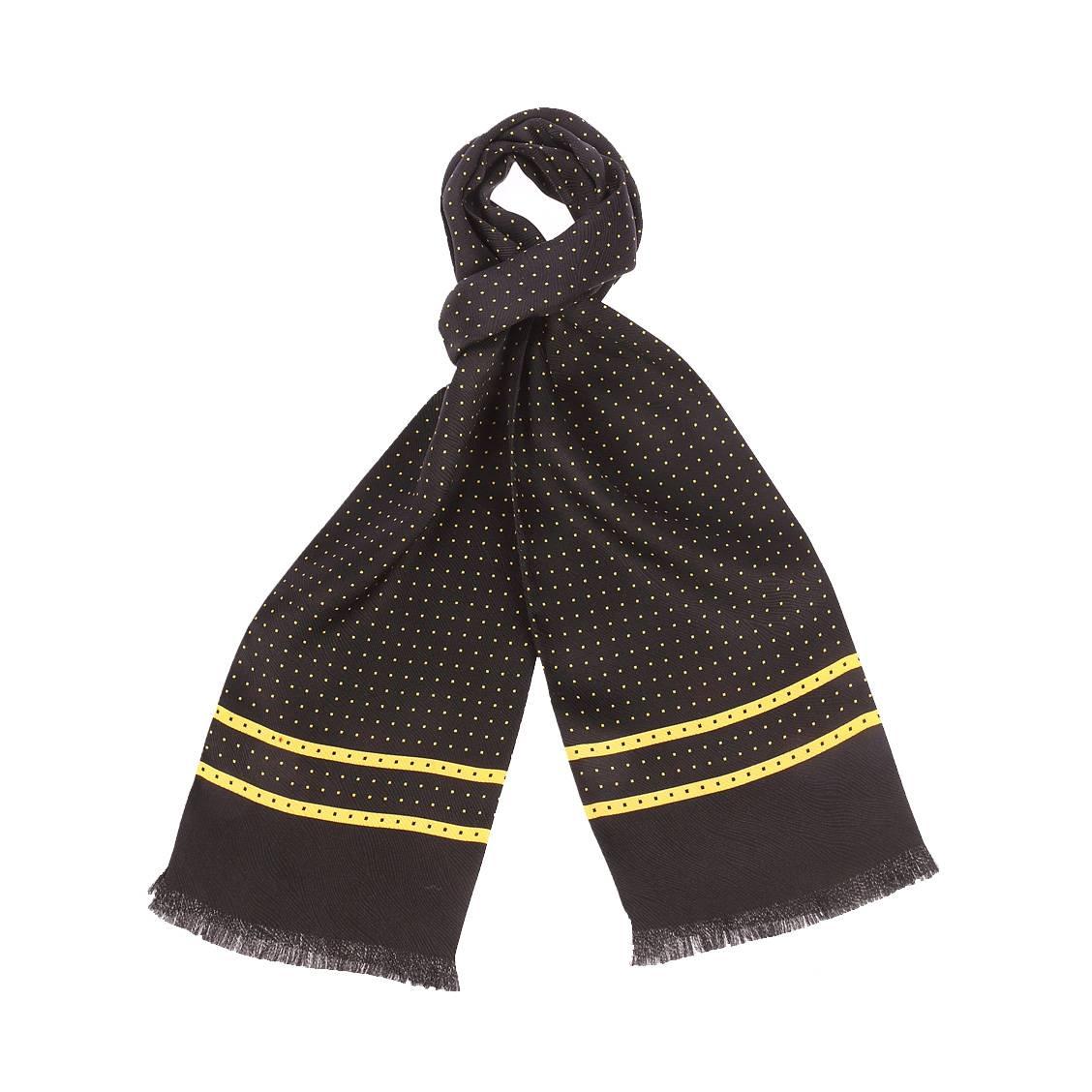 Echarpe en soie  noire à motifs carrés jaunes et noirs