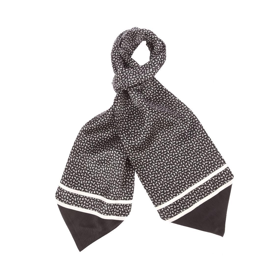 Foulard ascot à nouer en soie  noire à motifs cachemires blancs
