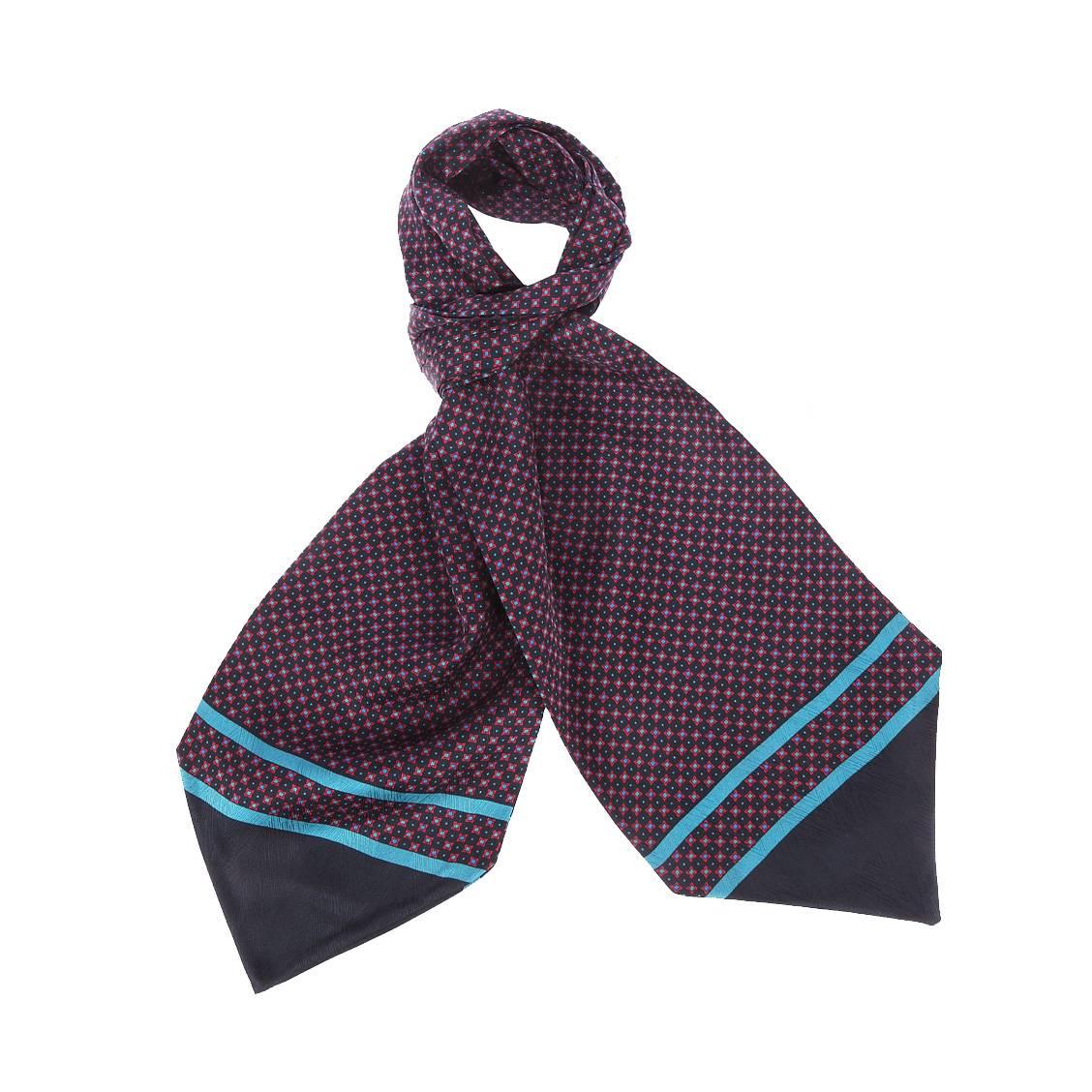 Foulard ascot à nouer en soie  bleu marine à motifs carrés rouges et points bleus